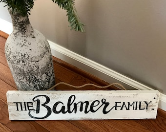 Reclaimed White Washed Family Name Sign