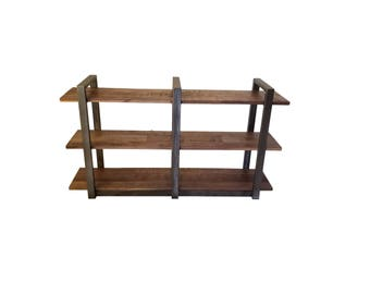 Industrial Rustic Shelving, walnut and metal shelf