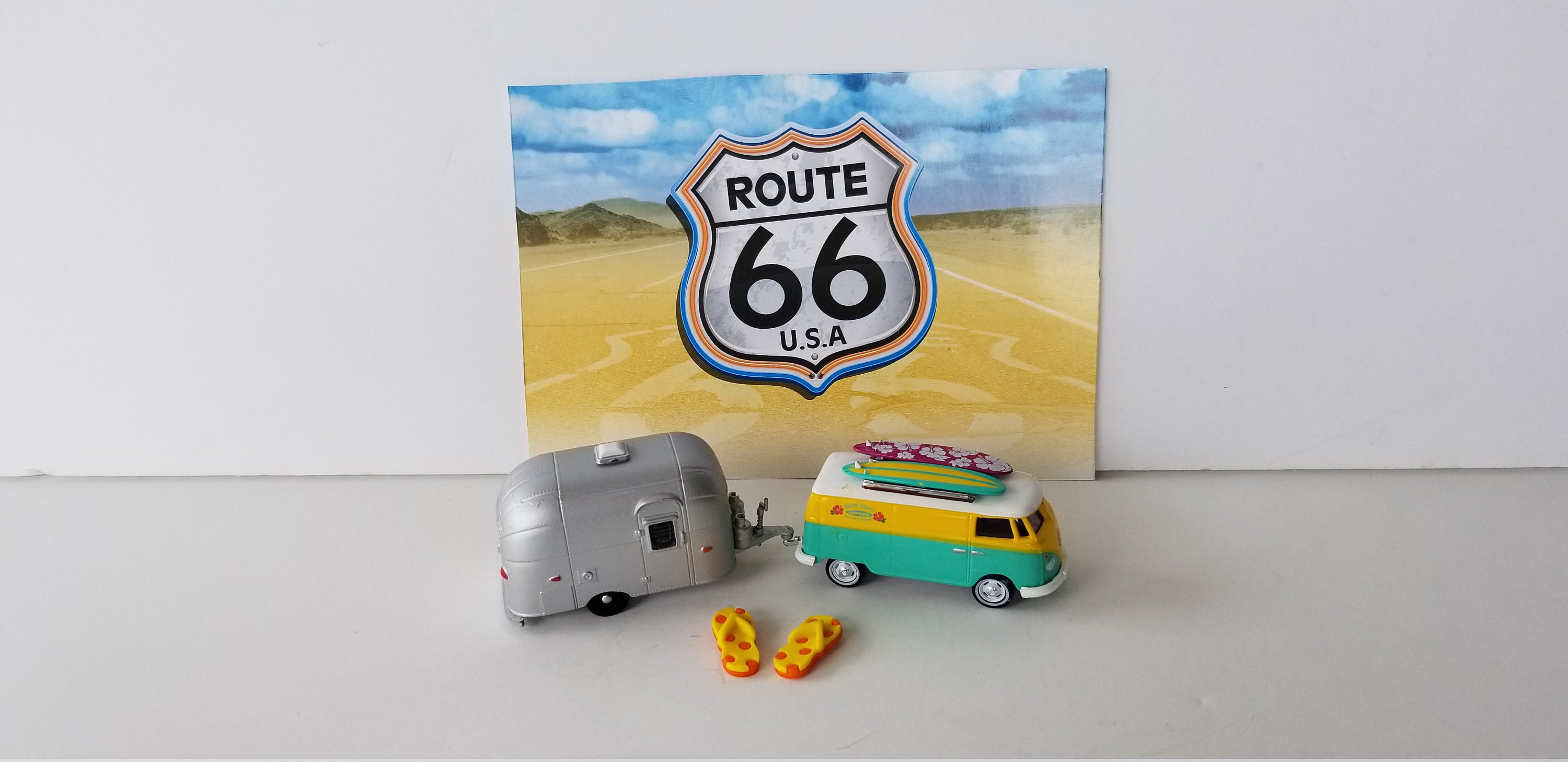 1964 V-Dub Bus with Surfboards towing a Airstream Bambi Travel Trailer 1/64  Scale Model Car Set Memorabilia Hippie Bus Diorama Retro