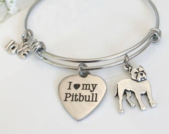 1ac6623b9f3 Pitbull Charm Bracelet - Expandable Pitty Best Friend Charm Bangle - Dog  Breed Jewelry - CE
