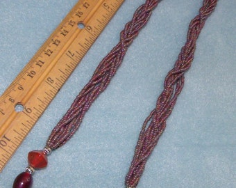 """Brown  / Purple Multi Shade HAND BEADED NECKLACE 24"""""""