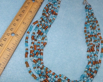 """Blue / Brown Multi Shade HAND BEADED NECKLACE 18"""""""