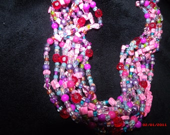 """Pink / Purple Multi Shade HAND BEADED NECKLACE 18"""""""