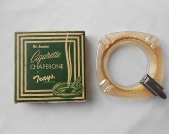 """Vintage """"Amazing Cigarette Chaperon"""" Carnival Glass Ashtray in box Circa 1950's"""