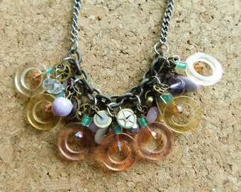 upcycled vintage parts NECKLACE steampunk retro plastic metal watch gears ooak