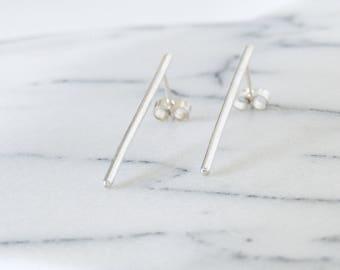 Silver Bar Earrings, Long Silver Earrings, Simple Silver Long Studs, Long Bar Earrings, Sterling Silver Long earrings, Thin Silver Earrings