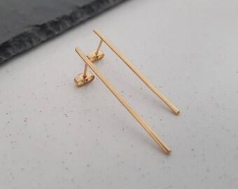 Gold Long Earrings, Long Gold Bar Studs, Long Bar Earrings, Thin Gold Earrings, Gold Stick Earrings, Gold Line Studs, Simple Gold Earrings