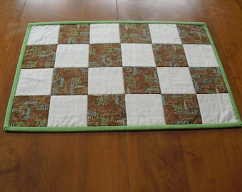 Quilted table topper table mat green and brown