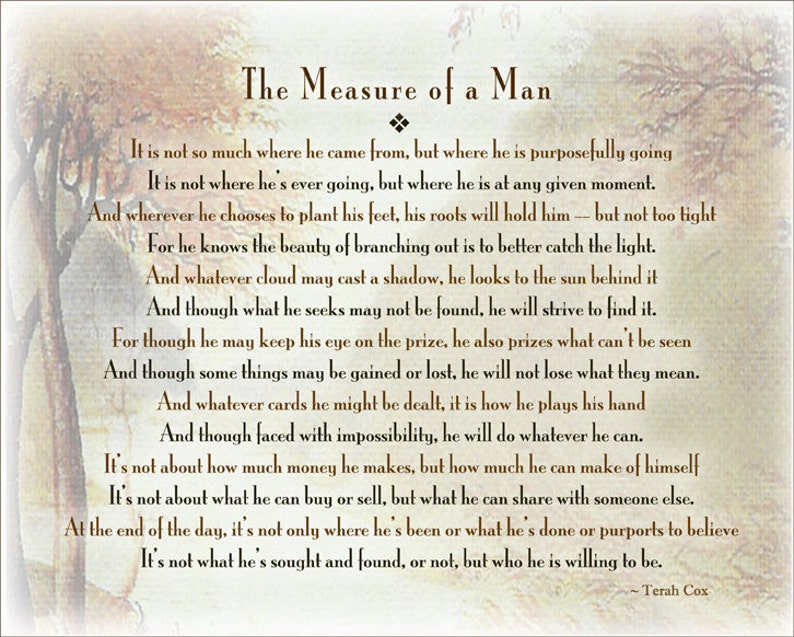 Measure Of A Man Door Terach Cox Vader Man Zoon Broer Etsy