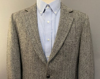 Two Button Front DISTRESSED CONDITION Gray Herringbone Wool Blazer 80s NORDSTROM Sport Coat
