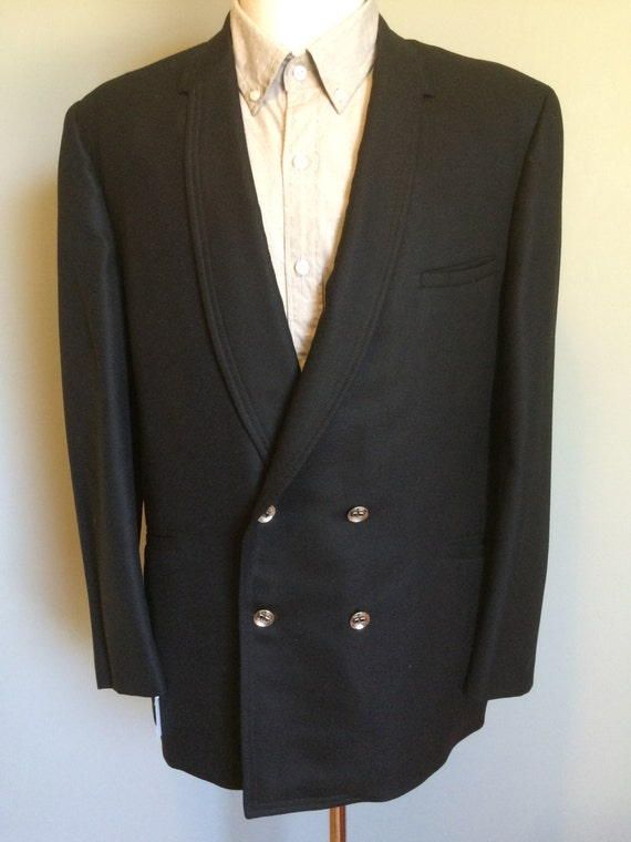 C1960s Blazer noir léger laine Double Breasted homme taille 40