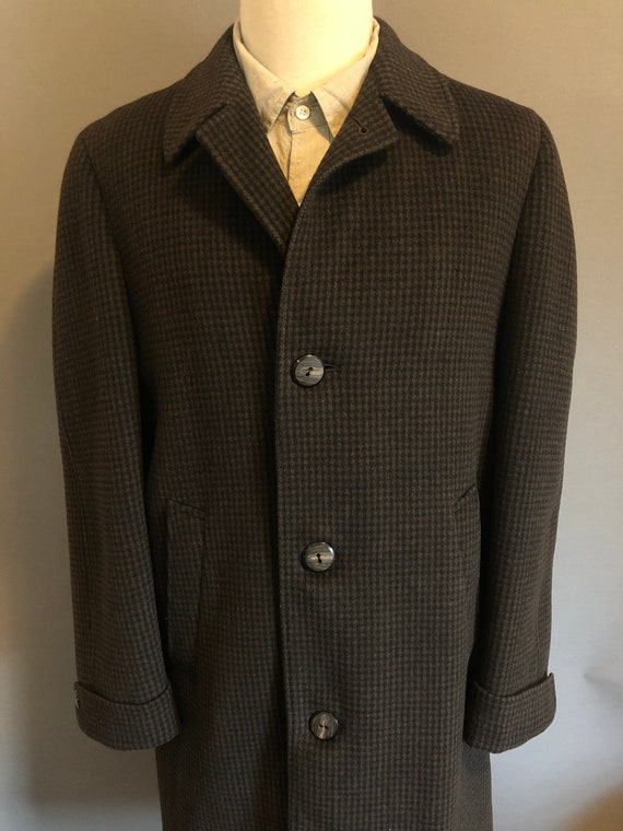 Sears Brown/Black Check Pattern Men's Wool 3 Butto