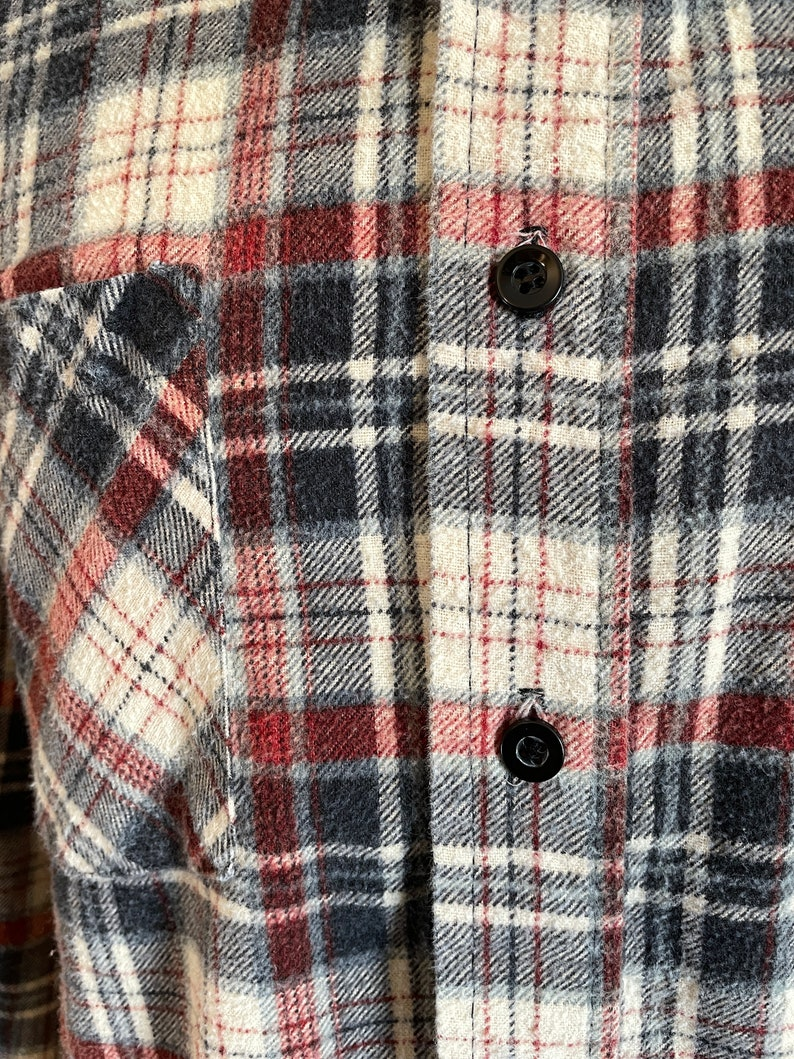 SIZE L Tall NavyRedWhite Plaid Men/'s Cotton Flannel Shirt c1980s