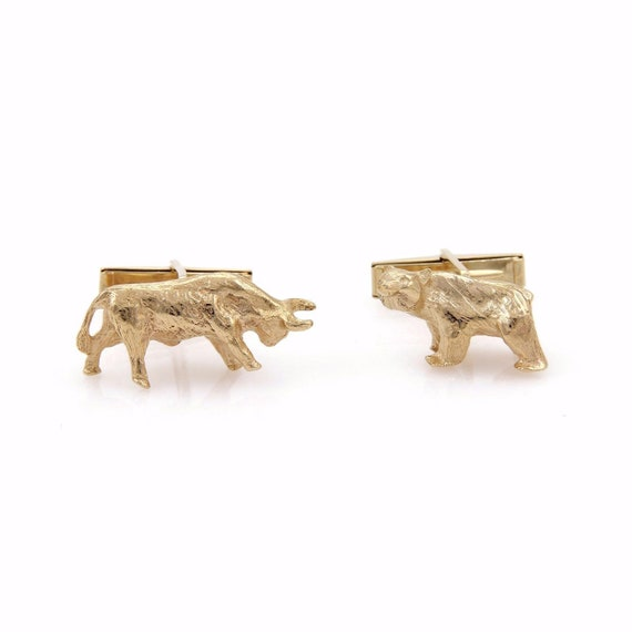 21311 Bear Bull Stock Market Symbol Stud 14k Yellow Gold Etsy