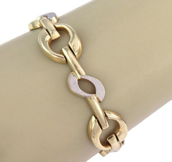 26249 /  Wide Fancy 14k Two Tone Gold Link Bracel… - image 2