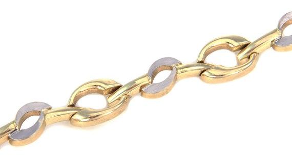 26249 /  Wide Fancy 14k Two Tone Gold Link Bracel… - image 3