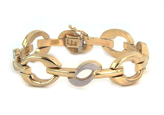 26249 /  Wide Fancy 14k Two Tone Gold Link Bracel… - image 1