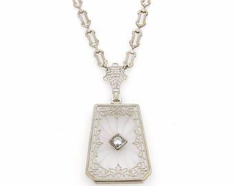 16219 - Art Deco 14k  Gold Filigree Diamond Camphor Crystal Pendant Necklace