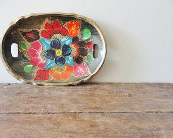 vintage wooden tray floral