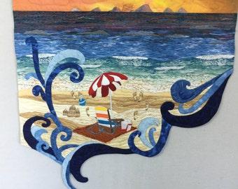 Art wallhanging, Beach wallhanging, Fiber art, Quilted wall hanging, Wall art, Quilted beach scene.