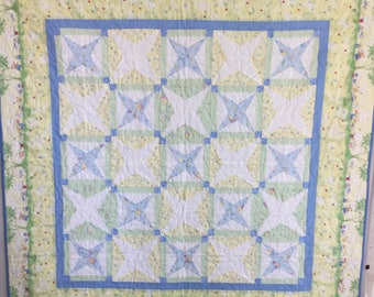 Quilted baby quilt, quilt for child, Crib quilt, Nursery quilt, Handmade baby quilt, Baby boy quilt, Hugs and kisses quilt, Toddler quilt,
