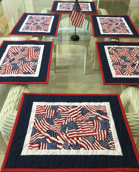 4th of July Placemats Set of 4 American Flag Motif Print Fabric Table Mats