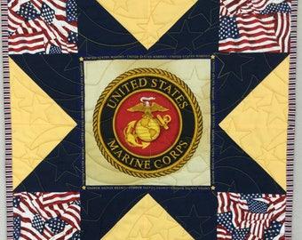 Patriotic Mini Quilt, Military Decor,Marines Wall Hanging, Patriotic Wall Quilt, Mini Marines Decor, Veterans Quilt, Mini Quilt