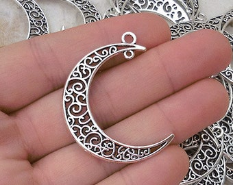 5 Pendants with moon - antique silver tone - SP85-191