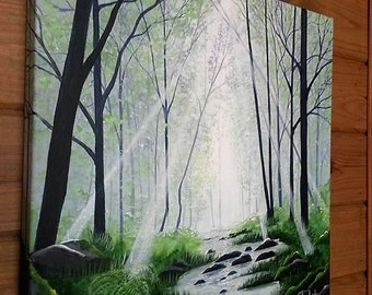 Teal forest landscape painting by Pamela Henry sun rays blues grays greens reflections restorative wall decor