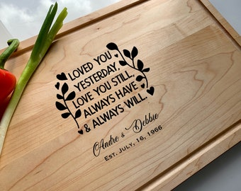 Valentine Gifts Maple Cutting Board Love Birds On A Tree Engraved Custom Wedding Decor Gift For The Couple Script Names Bridesmaids/' Gifts