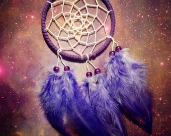 Purple dream catcher, faux suede, purple feathers, white web and & glass bead finish 7cm diameter dreamcatcher hand made