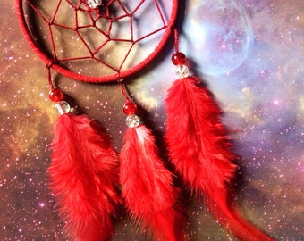 Red suede dream catcher with red feathers, red web and & glass bead finish 7cm diameter dreamcatcher hand made