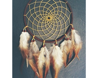 Brown dream catcher, faux suede, gold yellow web, rooster feathers finish 15cm diameter dreamcatcher hand made