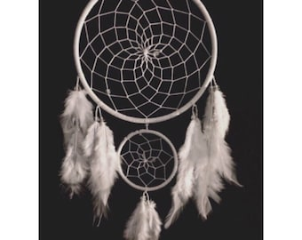 White dream catcher, wedding dreamcatcher, faux suede, double white web, white feathers and bead finish 15cm diameter dreamcatcher hand made