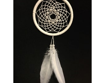 White dream catcher, faux suede, pearl dream catcher, goose feathers, white web and & pearl bead finish 7cm diameter dreamcatcher hand made