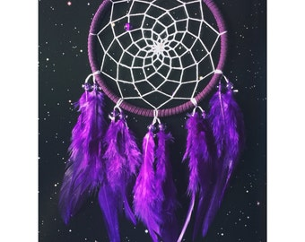 Purple dream catcher, faux suede, purple feathers, white web and & glass bead finish 10cm diameter dreamcatcher hand made