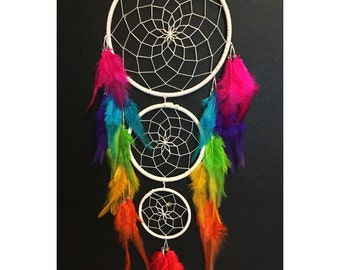 White dream catcher, triple hoop, faux suede, white web, rainbow feathers and bead finish 15cm diameter dreamcatcher hand made