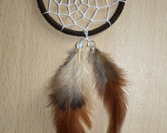 Brown dream catcher, faux suede, natural feathers, white web and brown glass bead finish 7cm diameter dreamcatcher hand made