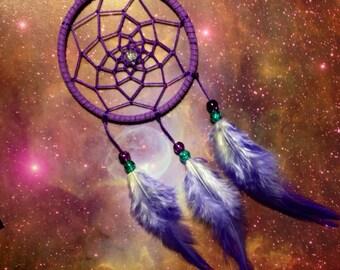 Purple dream catcher, faux suede, purple feathers, purple web and & glass bead finish 7cm diameter dreamcatcher hand made