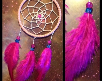 Pink dream catcher, faux suede, pink feathers, white web and & glass bead finish 7cm diameter dreamcatcher hand made
