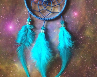 Blue dream catcher, faux suede, blue feathers, blue web and & glass bead finish 7cm diameter dreamcatcher hand made
