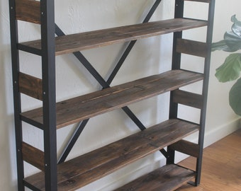 Reclaimed Wood Bookcase Storage Shelves Book Shelf