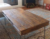 Reclaimed Wood Coffee Table on Hairpin Legs - READY to Ship - Pallet Style with Cubby, Storage, Mid Century, Industrial, Farmhouse, Rustic