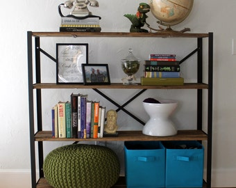"""Reclaimed Wood Bookcase, Storage Shelves, Book Shelf - """"The Saunders"""", Modern, Industrial, Farmhouse, Rustic, Angle Iron"""
