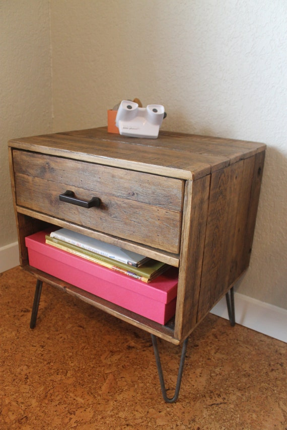 Reclaimed Wood Nightstand With Drawer Cubby The Etsy
