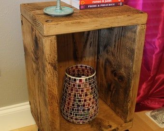 Rustic Mid-Century Nightstand, End Table, Industrial, Modern, Storage, Cubby Hole