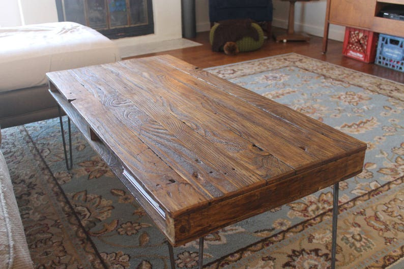 The Newton Reclaimed Wood Coffee Table On Hairpin Legs Etsy