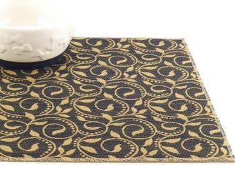 Dog Food Mat, Cat Food Mat, Pet Food Mat, Choose Your Size, Waterproof Pet Mat, Non Slip Mat, Cat Litter Box Mat, Blue Victorian Scroll