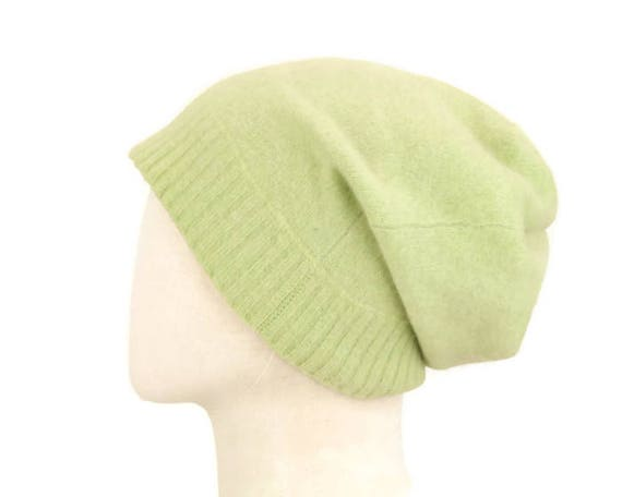Thick Cashmere Slouchy Hat Pure Cashmere Beanie Hat Handmade  ee12e21f80f
