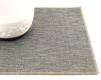 Pet Placemat, Choose Your Size, Dog Food Mat, Cat Food Mat, Litter Mat, Non Skid Mat, Waterproof Mat, Stain Resistant, Durable, Blue Tweed